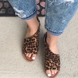 Shoes - Almost gone! Vegan Suede Leopard Cut Out Flat